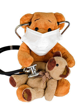 sick teddy bear: Picture of a teddy bear on isolated background Stock Photo