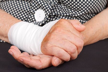 contusion: Close up of a senior hand with wrist contusion