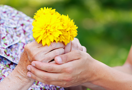 Young man giving a yellow flower to senior woman