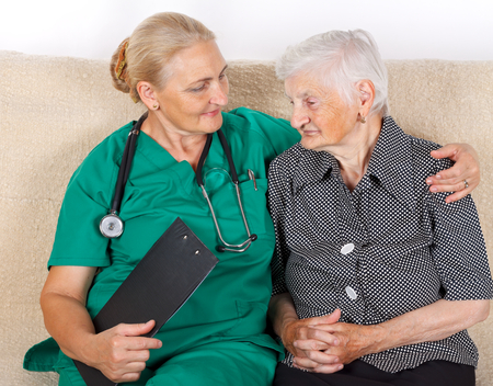 caregiver: Picture of a senior woman and her caregiver