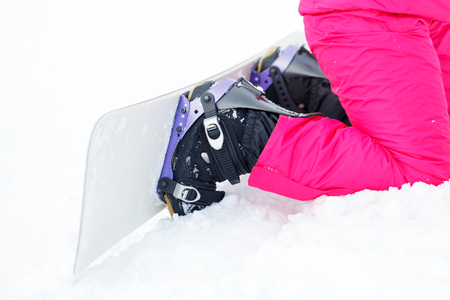 leisure wear: Close up photo of a snowboard