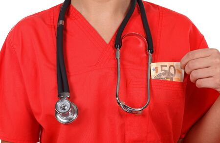 doctor money: Female doctor  with money in her pocket