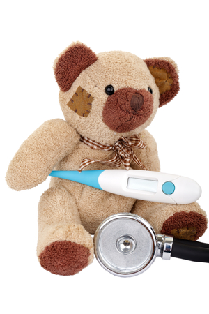 sick teddy bear: Sick teddy bear needs a medical treatment Stock Photo