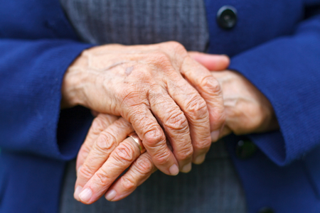 womans hands: Close-up picture of an old womans hands Stock Photo