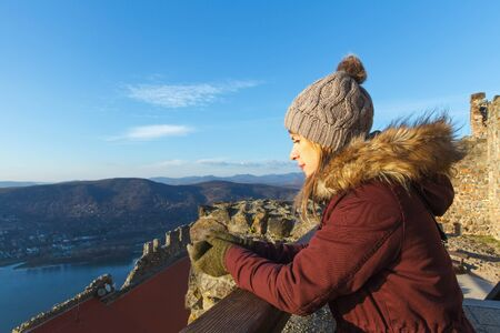 Picture of a tired tourist resting at Visegrad Castle, Hungary Stock Photo