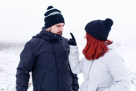 exasperate: Picture of a young couple having a fight durring vacation Stock Photo