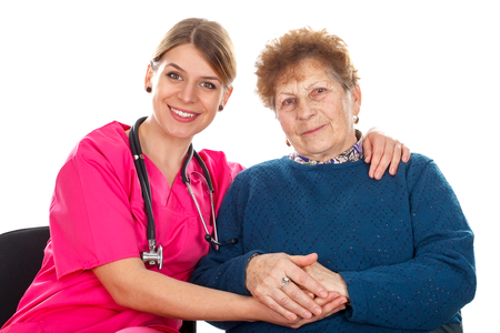 incontinence: Picture of an elderly woman with her assistant