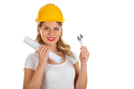 Picture of an attractive female engineer holding a toggle and a project