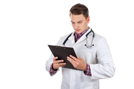 graduated: Picture of a young male doctor holding insurance forms