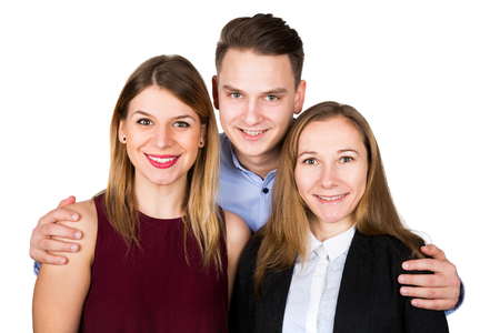 cousin: Portrait of two gorgeous women posing with a young man on isolated background