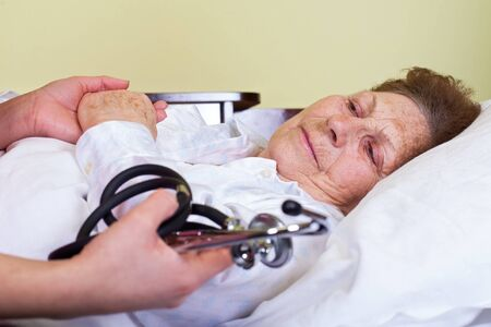 infirm: Picture of an elderly woman having a serious influenza