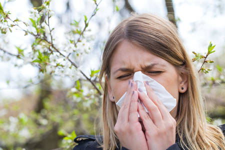 Young woman with allergy symptoms, sneezing, blowing her nose, springtime Stock Photo