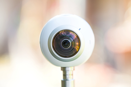 Close up picture of a 360 degree panoramic virtual tour camera outdoor