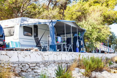 Picture of camper vans by the Adriatic Sea in Trogirs camping place, Croatia