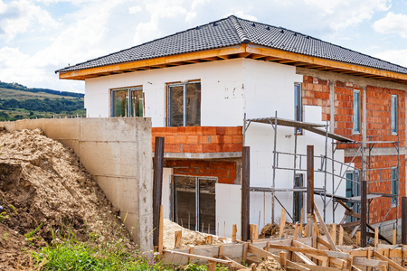 laths: Picture of new house under construction, building area outdoor