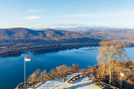 Picture of the beautiful view from the castle of Visegrad, Hungary Stock Photo
