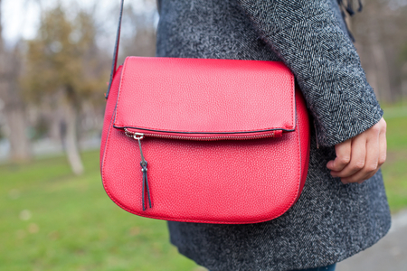 Picture of a females red handbag while walking in the park on wintertime