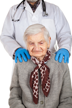 Etonnant Physician Holding Elderly Disabled Womanu0027s Shoulders   Assisted Living  Stock Photo   97877028
