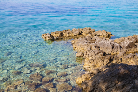 Amazing clear water of the adriatic sea, harbour of Krk island, Croatia