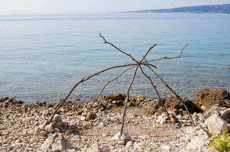Amazing clear water of the adriatic sea, harbour of Krk island, Croatia