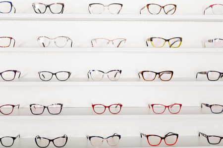 Picture of corrective eye glasses in an optics store