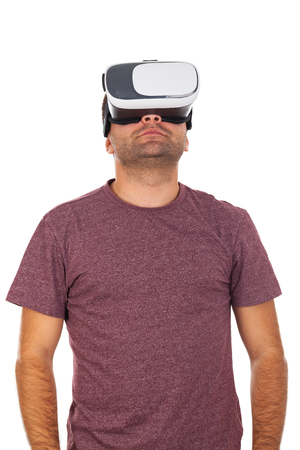 Picture of a young man wearing VR headset Stock Photo
