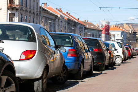 Picture of vehicles in a parking lot, Cluj Napoca downtown, crowded