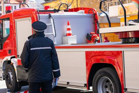 Picture of a new fire truck on mission in Cluj-Napoca, Romania