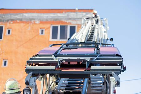 Picture of a new fire truck on mission in Cluj-Napoca, Romania Stock Photo - 130818428