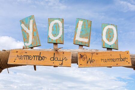 Yolo sign at Vama Veche beach, Romania Reklamní fotografie