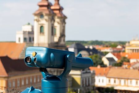 Picture of a blue sightseeing telescope in Eger, Hungary 스톡 콘텐츠