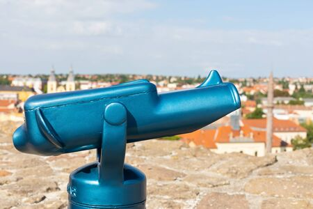Picture of a blue sightseeing telescope in Eger, Hungary Banque d'images
