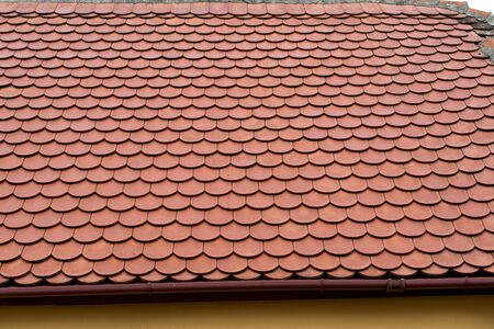Top view of an old  red roof tile Stock fotó - 134749876