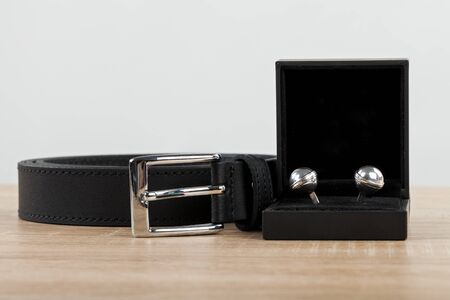 Close up picture of mens silver cufflinks