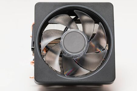 Modern cpu cooler with heat-pipes on white background