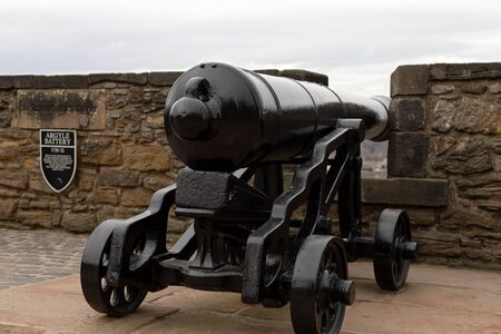 Picture of an old black cannon at Edinburgh castle Stock Photo