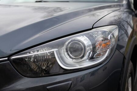 Close up picture of LED headlights modern car
