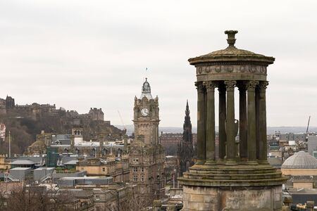 Scenic view of Edinburgh city from Calton Hill, Scotland 写真素材