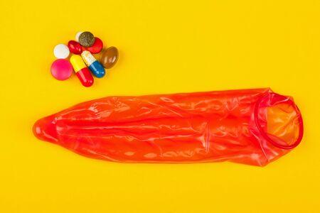Contraceptive pill , condom and pregnancy tests for prevent pregnancy Stock Photo