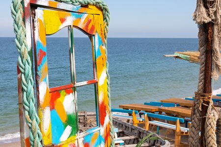 Colorful terrace bar at Vama Veche seashore, Romania, Black Sea