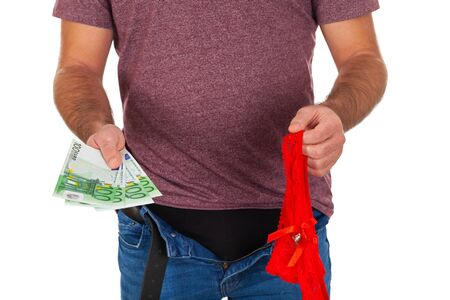 Photo of a man with unzipped pants  holding a sexy red female panties