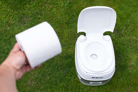 Picture of a clean and chemical toilet outdoor