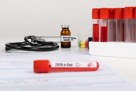 Close up picture of medical supplies, coronavirus blood test
