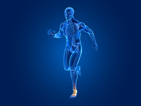 A high quality 3D image illustrating a running man who has an ankle  pain Standard-Bild