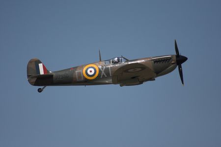 raf: Spitfire in flight on an airshow