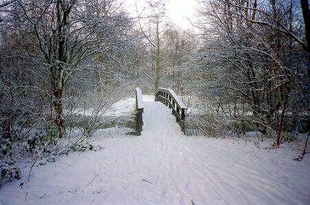 reiste: Snowy Br�cke in einem Park
