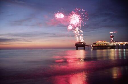 Vuurwerk op het strand