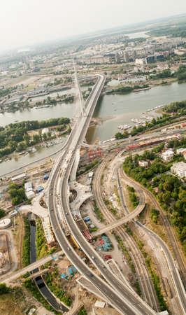 carriageway: Skyline aerial view - city landscape - suspension bridge