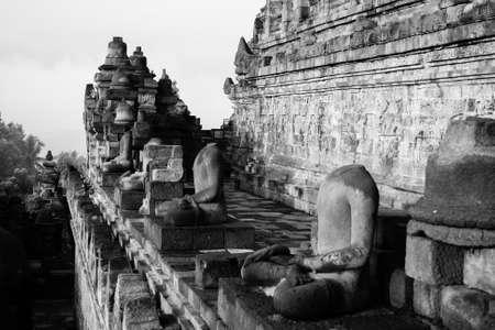 borobudur: Headless statues at the Borobudur Temple Stock Photo