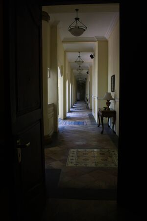 eerie: Eerie hallway in the afternoon Stock Photo